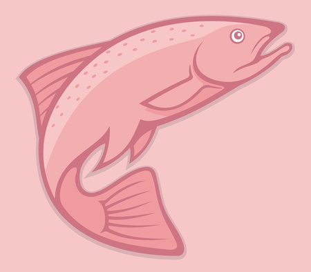 Illustration of a jumping salmon on pink background.