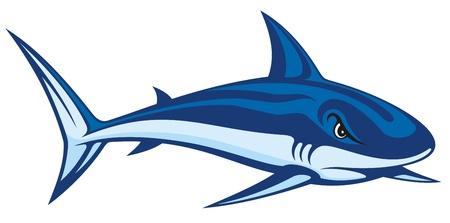 fins: Stylized blue cartoon illustration of a shark.