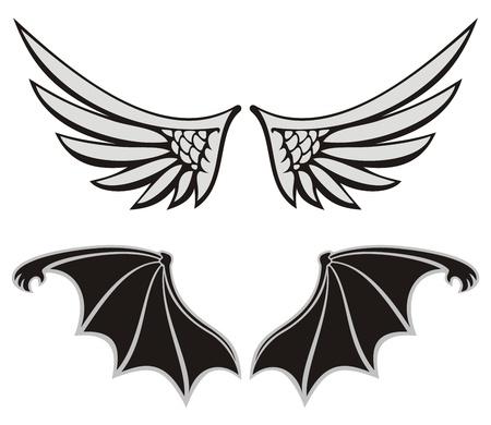 diavoli: Ala simmetrica a forma di elementi di design su ali bianche di sfondo, Angelo e diavolo. Vettoriali