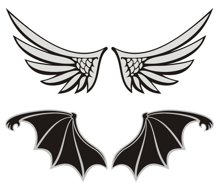 Symmetric wing shaped design elements on white background, angel and devil wings. Illustration