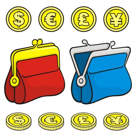Red and blue coin purse wallet icons closed and open with coins. Vector