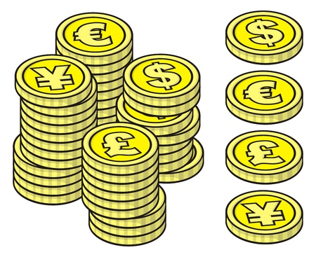 Four yellow stackable coins on white background with example stacks.