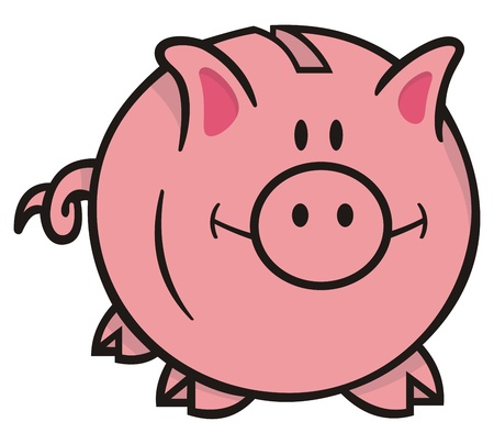 cute pig: Smiling pink piggy bank cartoon illustration on white background looking front.