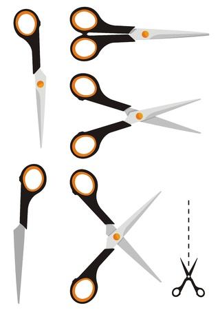 pair of scissors: Pair of scissors icon in three versions closed and open. Illustration