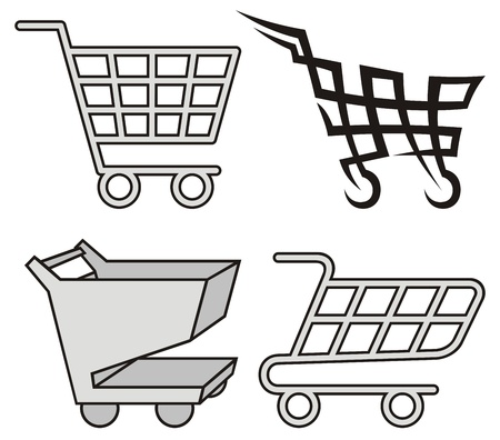 Four black and gray shopping cart icons on white background.