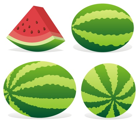 watermelon: Three ripe watermelons and a slice isolated on white background.