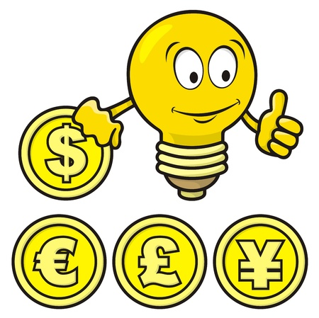 Cartoon of smiling bulb giving thumbs up and holding a coin. Vector