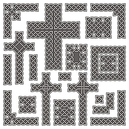 Collection of corners borders and crosses based on a basic Celtic knot key pattern.