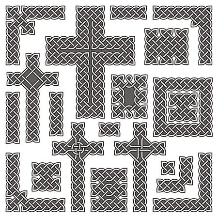 keltische muster: Sammlung von Ecken Grenzen und Kreuze basierend auf einem grundlegenden Celtic Knot Key Muster.