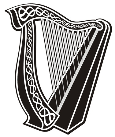 harp: Black and white harp icon with Celtic knot decoration. Illustration