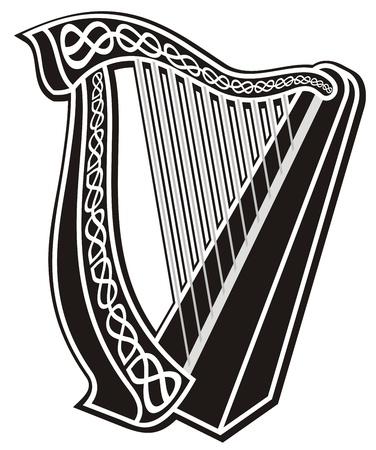 Icono de arpa de blanco y negro con decoración de nudos celtas. Ilustración de vector