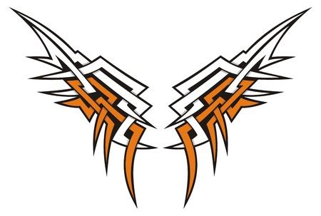 Tatuaje de icono de estilo tribal alas en naranja y blanco. Ilustración de vector