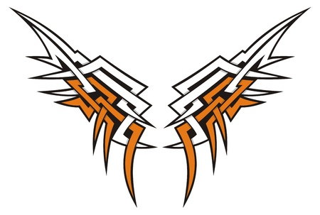 Tribal style wings icon tattoo in orange and white. Illustration