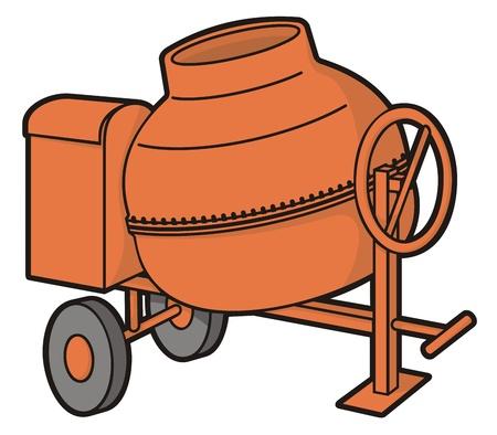 Orange mini mixer de béton avec une illustration de roues isolée sur fond blanc.