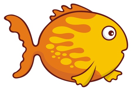 Surprised yellow and orange goldfish cartoon illustration isolated on white background. Stock Vector - 9555518