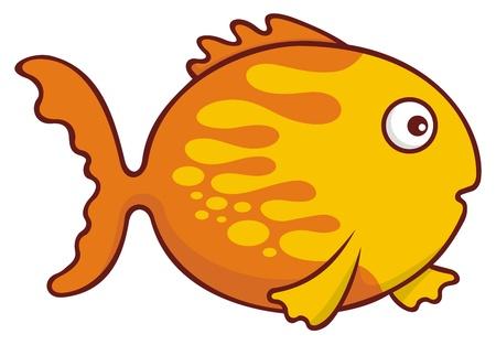 goldfish: Surprised yellow and orange goldfish cartoon illustration isolated on white background.
