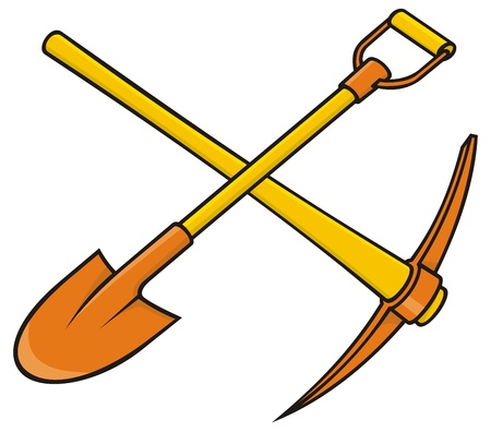 Crossed yellow and orange pickaxe and shovel icon on white background. Illustration