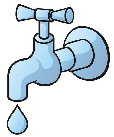 llave de agua: Toque de goteo, luz azul ilustraci�n con sombras ligeras aisladas sobre fondo blanco.