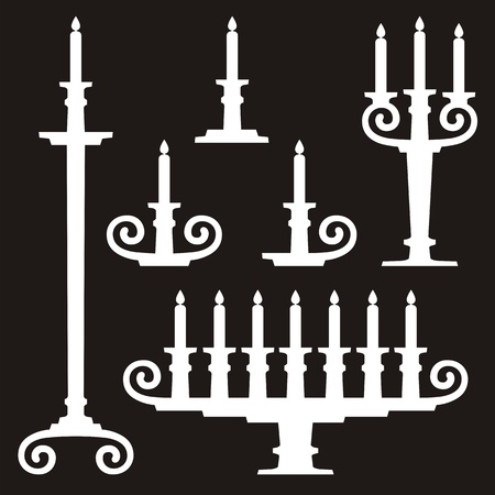 Candles on candle stands silhouettes on black background. Stock Vector - 9555520