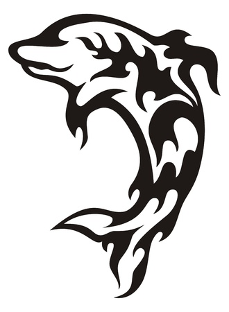 Tribal black and white jumping dolphin icon created with flame elements. Vector