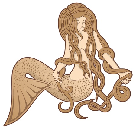 Illustration of a sitting mermaid with long hair on white background.