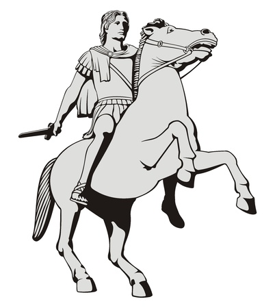 cavalry: Illustration of Alexander the Great riding his horse statue  at Thessaloniki Greece.