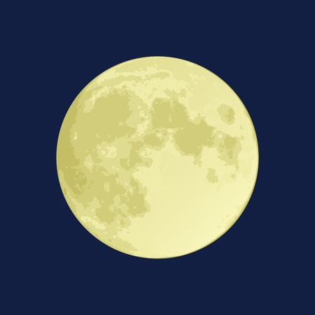 Illustration of a full moon on a dark blue sky