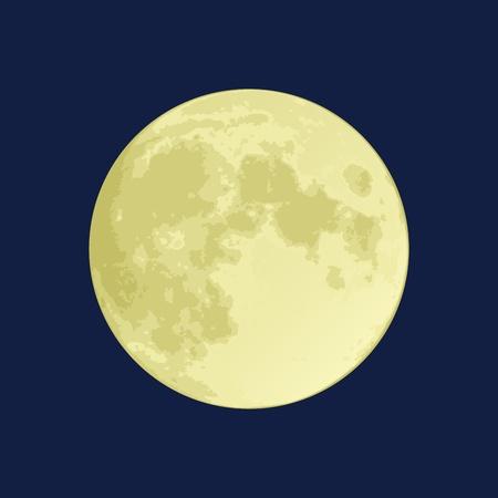 Ilustración de una luna llena en un cielo azul oscuro Ilustración de vector