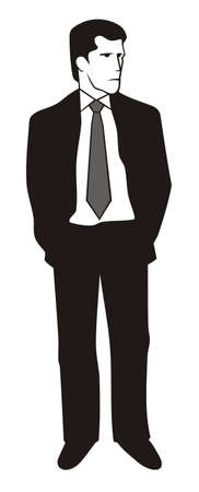 Illustration of a young man in black suit Stock Vector - 9851150