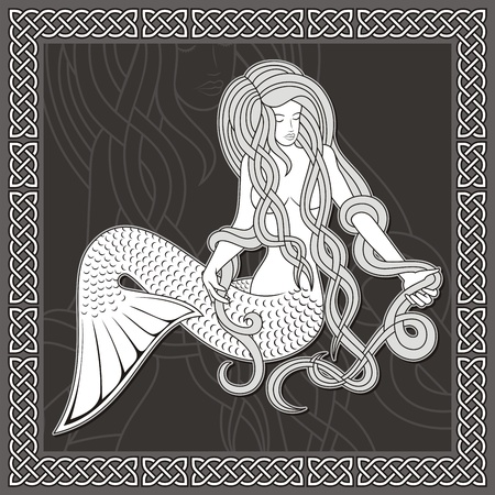 mythologie: Illustration einer Meerjungfrau sitzend mit langen Haaren auf schwarzem Hintergrund und keltischen Grenze.