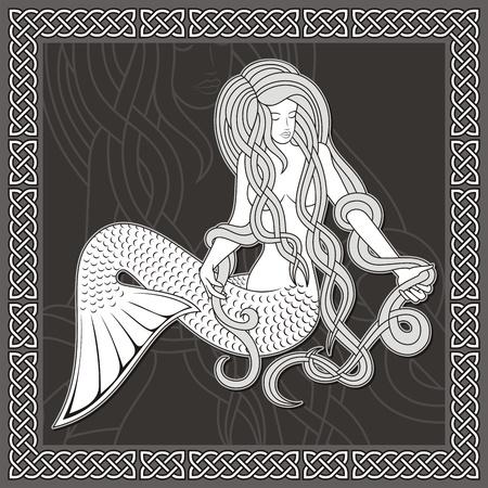 celtico: Illustrazione di una sirena seduta con i capelli lunghi su sfondo nero e confine celtica.