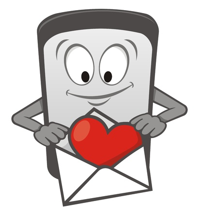 phone icon: Cartoon mobile phone with heart in an envelope
