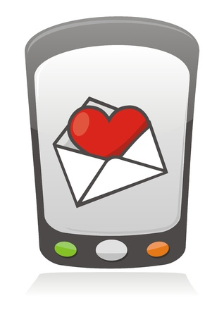 Illustration of cartoon heart inside an envelope on a mobile phone screen Stock Vector - 9851154