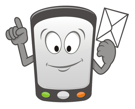 holding smart phone: Cartoon mobile smart phone holding a message envelope and smiling