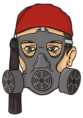 Greek evzone head with red fez and tassel wearing a gas mask. Stock Vector - 9851162