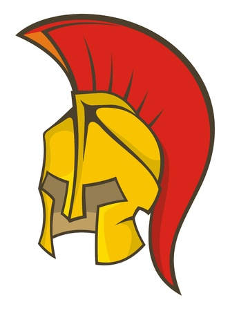 Illustration of a deep yellow and red ancient soldier helmet. Vector