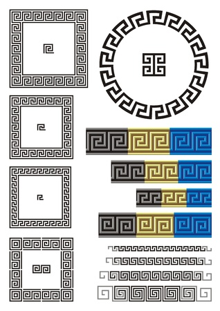 Borders and dividers created using ancient Greek key patterns.