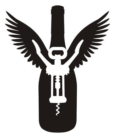 Silhouet van wijnfles met vleugels en een kurkentrekker. Vector Illustratie