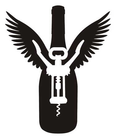 Silhouette of wine bottle with wings and a corkscrew.