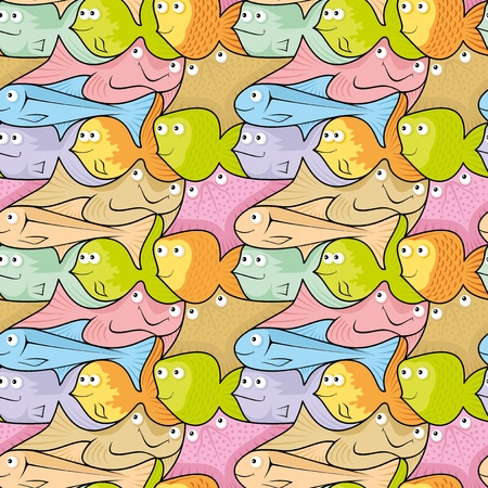 cartoon fish: Seamless pattern background of colorful happy, smiling fish cartoons.