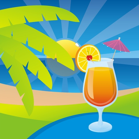 A glass of tequila sunrise cocktail on a tropical beach background.