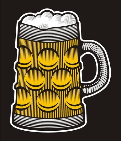 Beer mug illustration with woodcut shading on black background. Stock Vector - 10537520