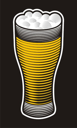 woodcut: Beer pint illustration with woodcut shading on black background.