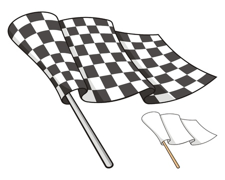 checkered flag: Waving checkered flag isolated on white background, also a white peace flag.
