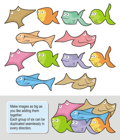 Six happy fish cartoons each one in two colored versions. Make seamless wallpapers as big as you like adding them together. Vector