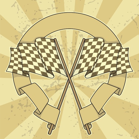 racing checkered flag crossed: Crossed racing flags with a banner on beige grunge background.