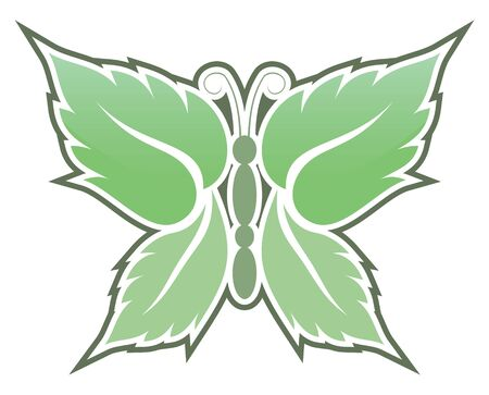 Butterfly made with mint leaves icon isolated on white background. Stock Vector - 10537514
