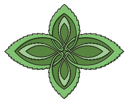 Diseño de nudos celtas verde representando hojas de menta aisladas sobre fondo blanco. Ilustración de vector
