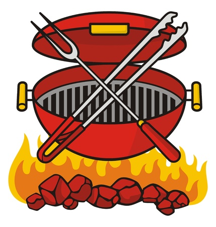 tongs: Barbeque grill over flaming charcoal with crossed fork and tongs.