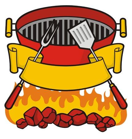 Barbecue grill sopra fiammeggiante carbone, forcella e spatola con banner a scorrimento.